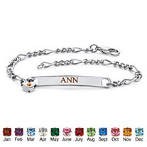 """Personalized I.D. Simulated Birthstone Heart Charm Bracelet in Silvertone 7.25"""""""
