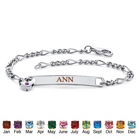 "Personalized I.D. Birthstone Heart Charm Bracelet in Silvertone 7.25"" at PalmBeach Jewelry"