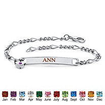 Personalized I.D. Simulated Birthstone Heart Charm Bracelet in Silvertone 7.25