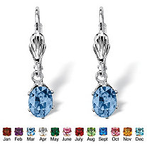 Oval-Cut Birthstone Silvertone Drop Earrings