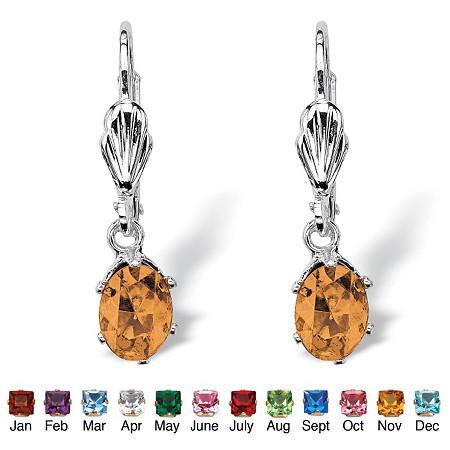 Oval-Cut Birthstone Silvertone Drop Earrings at PalmBeach Jewelry