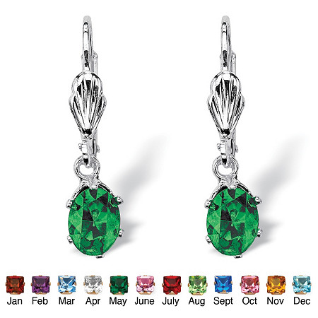Oval-Cut Birthstone Silvertone Drop Earrings at PalmBeach Jewelry