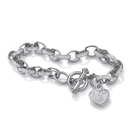 Diamond Accent Heart Charm Bracelet in Platinum over .925 Sterling Silver at PalmBeach Jewelry