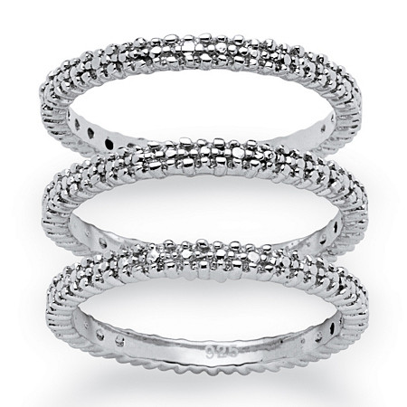 3-Piece Diamond Accented Eternity Stack Ring Set in Platinum over Sterling Silver at PalmBeach Jewelry