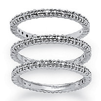 SETA JEWELRY 3-Piece Diamond Accented Eternity Stack Ring Set in Platinum over Sterling Silver