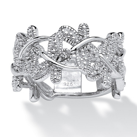 Diamond Accented Butterfly Ring in Platinum over Sterling Silver at PalmBeach Jewelry