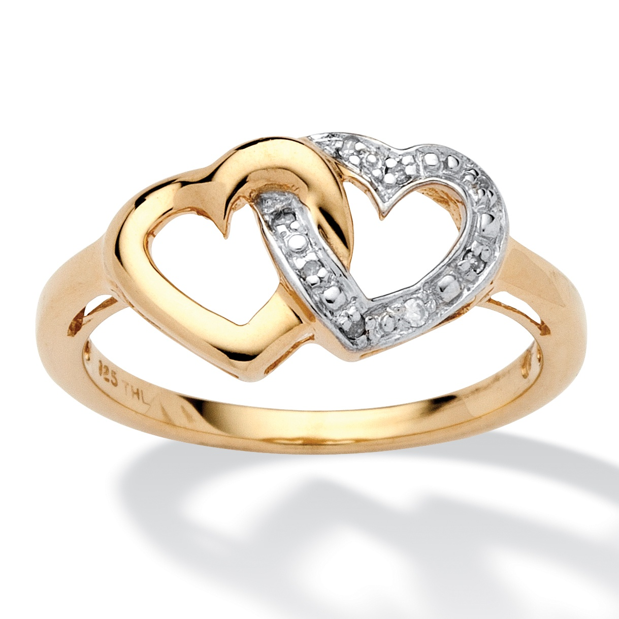 diamond accent interlocking heart promise ring in 18k gold. Black Bedroom Furniture Sets. Home Design Ideas