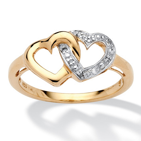Diamond Accent Interlocking Heart Promise Ring in 18k Gold over Sterling Silver at PalmBeach Jewelry