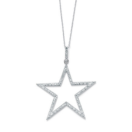 1/10 TCW Round Diamond Star-Shaped Pendant and Chain in Platinum over Sterling Silver 18