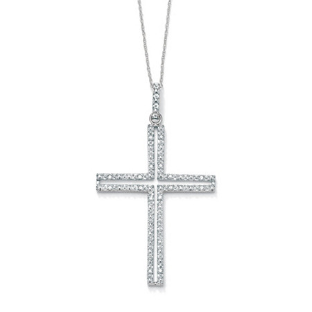 1/10 TCW Round Diamond Platinum over Sterling Silver Religious Cross Pendant and Rope Chain 18