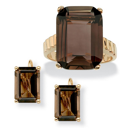2 Piece 25.25 TCW Emerald-Cut Smoky Quartz Ring and Earrings Set in 14k Gold-Plated at PalmBeach Jewelry