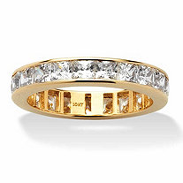 5.29 TCW Princess-Cut Cubic Zirconia Eternity Channel Band in Solid 10k Yellow Gold
