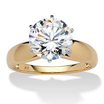 SETA JEWELRY 3.50 TCW Round Cubic Zirconia 10k Yellow Gold Solitaire Bridal Engagement Ring