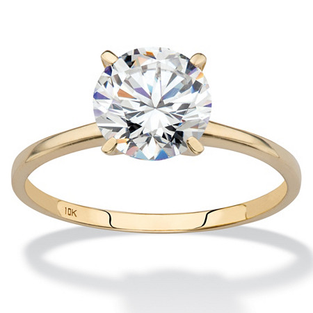 2 TCW Round Cubic Zirconia Solitaire Engagement Ring in Solid 10k Yellow Gold at Direct Charge presents PalmBeach