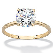 2 TCW Round Cubic Zirconia Solitaire Engagement Ring in Solid 10k Yellow Gold