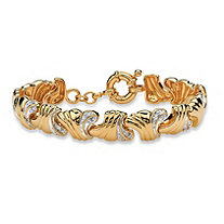 .19 TCW Round Diamond 14k Yellow Gold-Plated Wave-Link Bracelet 7 1/2