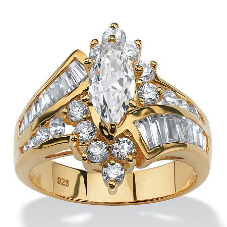 3.20 TCW Marquise-Cut Cubic Zirconia Engagement Anniversary Ring in 18k Gold over Sterling Silver at PalmBeach Jewelry