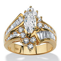 SETA JEWELRY 3.20 TCW Marquise-Cut Cubic Zirconia Engagement Anniversary Ring in 18k Gold over Sterling Silver