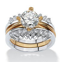 SETA JEWELRY 2 Piece 2.86 TCW Round Cubic Zirconia Bridal Ring Set in Sterling Silver with a Golden Finish