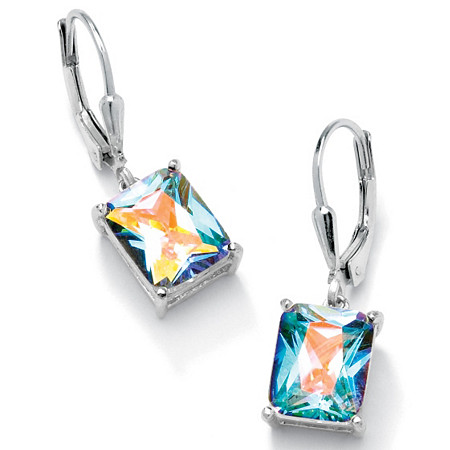 7.60 TCW Emerald-Cut Aurora Borealis Cubic Zirconia Sterling Silver Drop Earrings at PalmBeach Jewelry