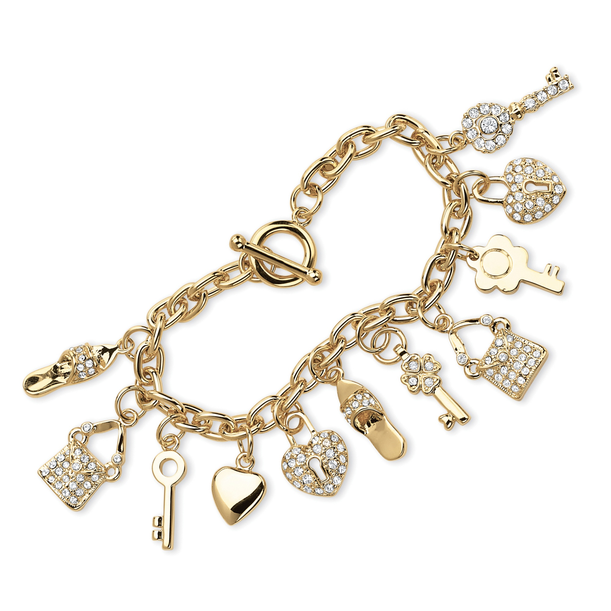 Shoe Charm Bracelet: Round Crystal 14k Yellow Gold-Plated Shoe, Purse, Heart