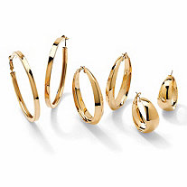 SETA JEWELRY Polished 3-Pair Set of Assorted Hoop Earrings in Gold Tone (72mm, 58mm and 35mm)