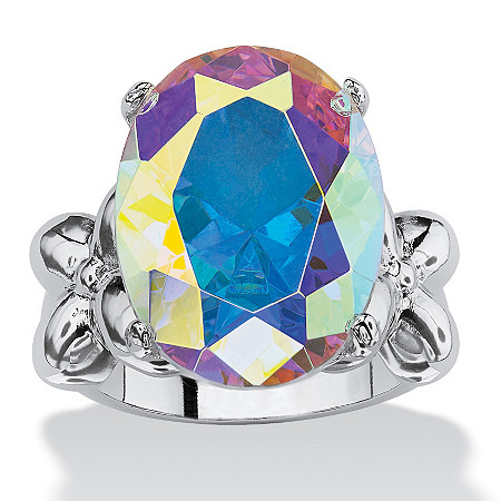 12.86 TCW Oval Cut Cubic Zirconia Silvertone Aurora Borealis Ring at PalmBeach Jewelry