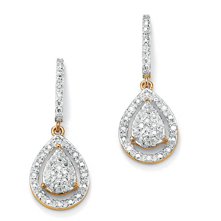 1/8 TCW Round Diamond 18k Gold over Sterling Silver Pear-Shaped Drop Earrings at PalmBeach Jewelry