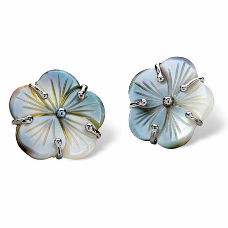 Flower-Shaped Freshwater Black Mother-of-Pearl Button Silvertone Earrings at PalmBeach Jewelry
