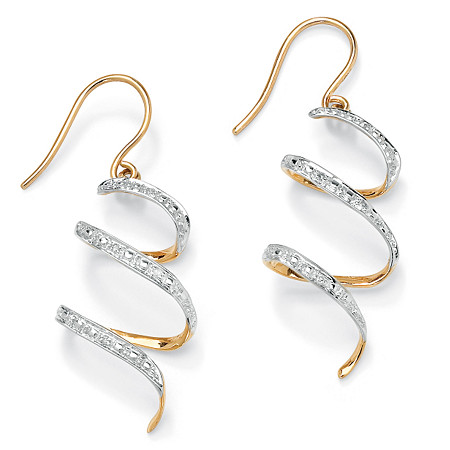 Diamond Accent 10k Yellow Gold Ribbon Drop Earrings at PalmBeach Jewelry