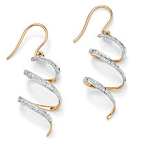 Diamond Accent 10k Yellow Gold Ribbon Drop Earrings