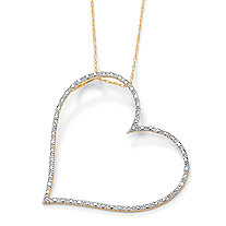 Diamond Accent Heart Pendant and Rope Chain in Solid 10k Yellow Gold 18""