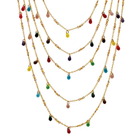Multicolor Beaded Waterfall Necklace in Yellow Gold Tone at PalmBeach Jewelry