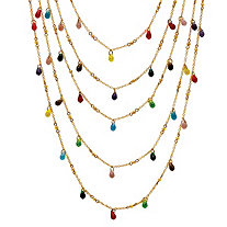 Multicolor Beaded Waterfall Necklace in Yellow Gold Tone