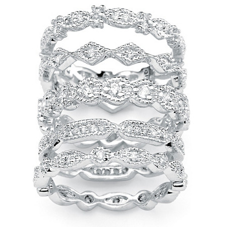 1.55 TCW Cubic Zirconia Five-Piece Stack Eternity Bands Set in Silvertone at PalmBeach Jewelry