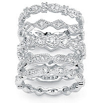 SETA JEWELRY 1.55 TCW Cubic Zirconia Five-Piece Stack Eternity Bands Set in Silvertone