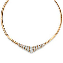 1/10 TCW Diamond Chevron and Snake-Link Necklace in 18k Gold over .925 Sterling Silver 20