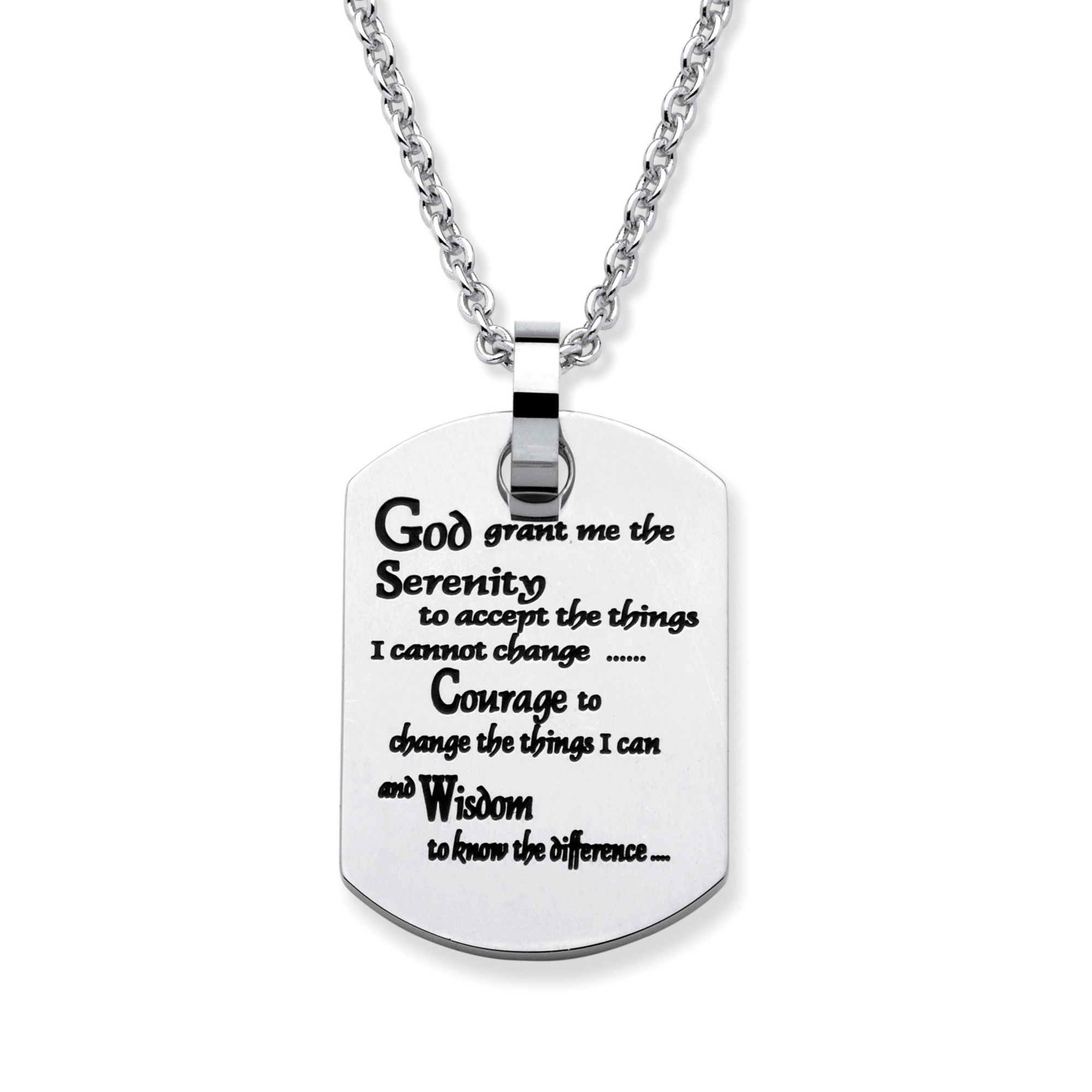 necklace prayer moreview sided serenity pendant double coin stainless lightbox steel