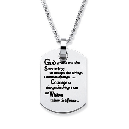 "Serenity Prayer Dog Tag Necklace in Stainless Steel 20"" at PalmBeach Jewelry"