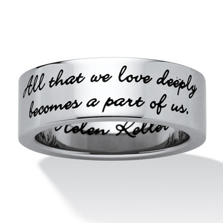 Inspirational Helen Keller Quote Message Ring in Stainless Steel at PalmBeach Jewelry