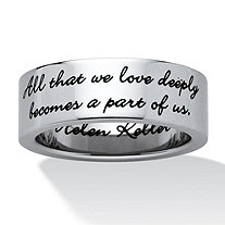 SETA JEWELRY Inspirational Helen Keller Quote Message Ring in Stainless Steel