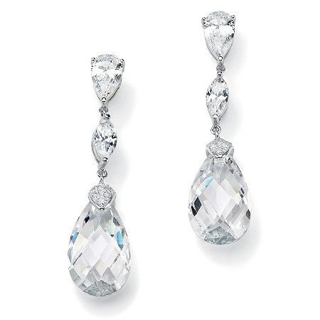 34.70 TCW Pear-Cut Cubic Zirconia Sterling Silver Drop Earrings at PalmBeach Jewelry