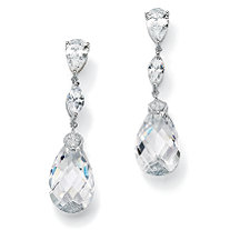 SETA JEWELRY 34.70 TCW Pear-Cut Cubic Zirconia Sterling Silver Drop Earrings
