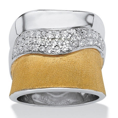5/8 TCW Pave Cubic Zirconia Polished and Textured Ring 18k Gold over Sterling Silver at PalmBeach Jewelry