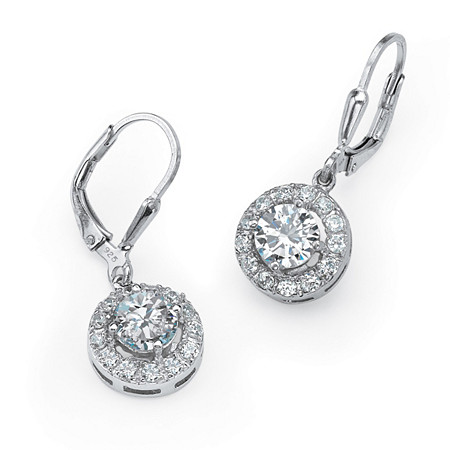 2.35 TCW Round Cubic Zirconia Halo Drop Earrings in .925 Sterling Silver at PalmBeach Jewelry