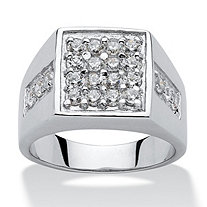 Men's 1.32 TCW Round Cubic Zirconia Square Cluster Ring in Platinum over Sterling Silver Sizes 8-16