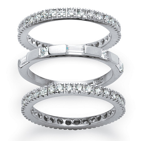 3 Piece 2.02 TCW Cubic Zirconia Eternity Stack Bands Set in Platinum over Sterling Silver at PalmBeach Jewelry