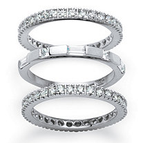 3 Piece 2.02 TCW Cubic Zirconia Eternity Stack Bands Set in Platinum over Sterling Silver