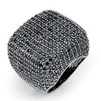 6.76 TCW Round Pave Black Cubic Zirconia Ring Black Ruthenium-Plated