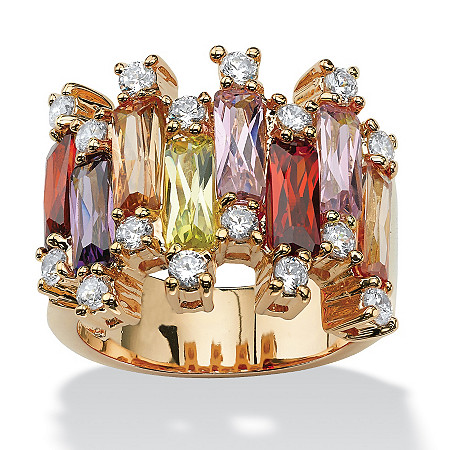 8.96 TCW Emerald-Cut Multicolor Cubic Zirconia Yellow Gold-Plated Vertical Row Ring at PalmBeach Jewelry